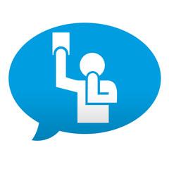 Etiqueta tipo app azul comentario simbolo arbitro