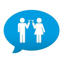 Etiqueta tipo app azul comentario simbolo brindis