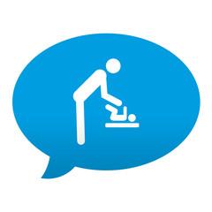 Etiqueta tipo app azul comentario simbolo cambiar pañales
