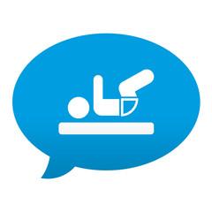 Etiqueta tipo app azul comentario simbolo cambiar pañal