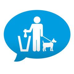 Etiqueta tipo app azul comentario simbolo excremento canino