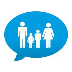 Etiqueta tipo app azul comentario simbolo familia