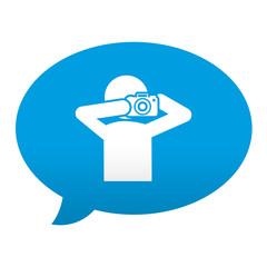 Etiqueta tipo app azul comentario simbolo fotografo