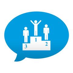 Etiqueta tipo app azul comentario simbolo ganador