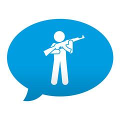 Etiqueta tipo app azul comentario simbolo soldado