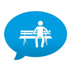 Etiqueta tipo app azul comentario simbolo zona de descanso