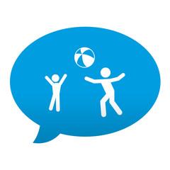 Etiqueta tipo app azul comentario simbolo jugando balon