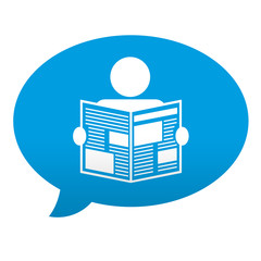 Etiqueta tipo app azul comentario simbolo lector de periodicos