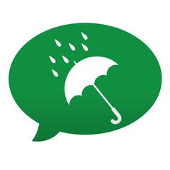 Etiqueta tipo app azul comentario simbolo lluvia