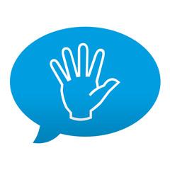 Etiqueta tipo app azul comentario simbolo mano
