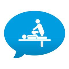 Etiqueta tipo app azul comentario simbolo masajista