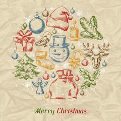 Merry Christmas hand drawn invitation card template.