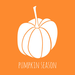 Cute pumpkin. Autumn vector illustration. Pumpkin season