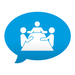 Etiqueta tipo app azul comentario simbolo sala de reuniones