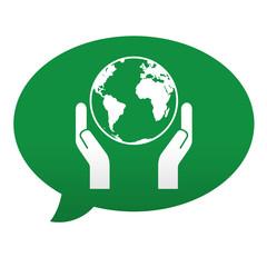 Etiqueta tipo app azul comentario simbolo salvar el planeta