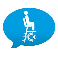 Etiqueta tipo app azul comentario simbolo salvavidas