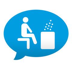 Etiqueta tipo app azul comentario simbolo sauna