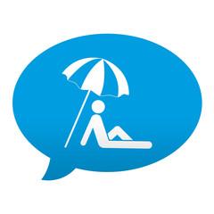 Etiqueta tipo app azul comentario simbolo sombrilla