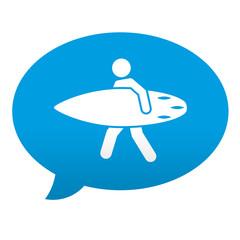 Etiqueta tipo app azul comentario simbolo surfista