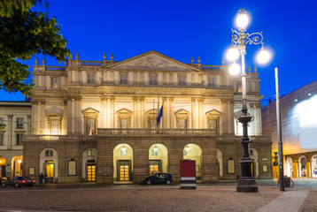 Teatro alla Scala (Theatre La Scala) at night in Milan, Italy
