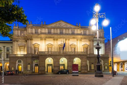 Teatro alla Scala (Theatre La Scala) at night in Milan, Italy - 69930799