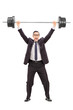 Strong businessman lifting a heavy weight