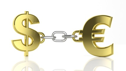 Gold Dollar and Euro symbols linked with chain isolated