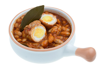Fagioli all'uccelletto con involtino di carne