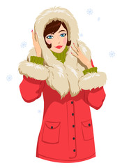 beautiful girl in a red winter jacket