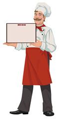 Chef presents a menu