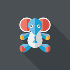 elephant doll flat icon with long shadow,eps10