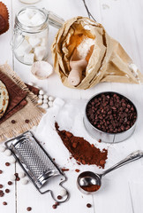 Ingredients for baking with chocolate