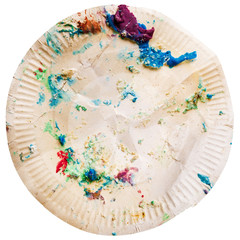 Crumpled dirty disposable plate