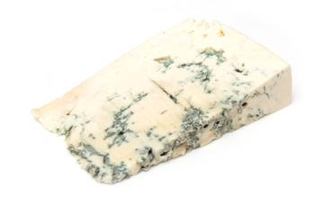 Gorgonzola Italian cheese isolated on a white studio background.