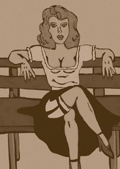 Pin up sitting on chair vintage