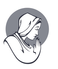 vector portrait of Virgin Mary