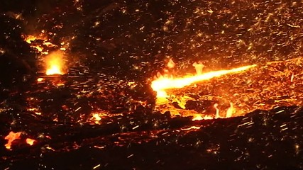 Fiery sparks of molten metal