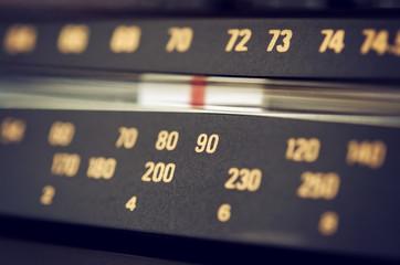 Radio dial scale closeup