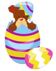 Cute Teddy Bear with Easter egg