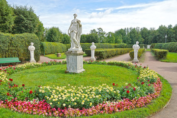Ancient statues in the flower garden in Gatchina