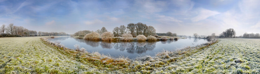 Fluss, Ems, Lingen, Winter, Pano_02
