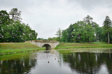 Ancient stone bridge in Gatchina, town near Saint Petersburg