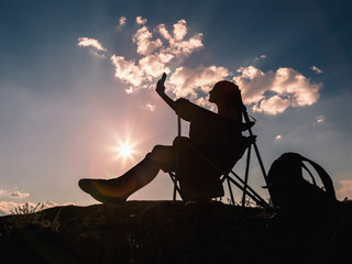 Self-portrait at sunset