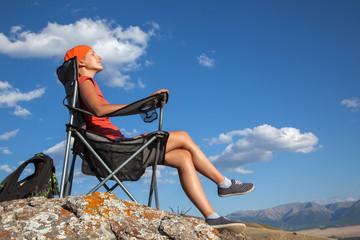 Leisure tourist girl summer day