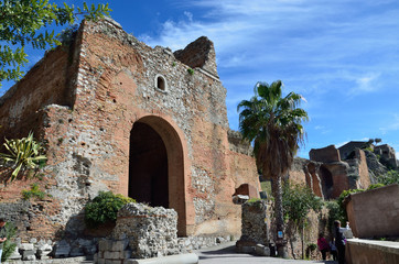 Ancient ruins in the Italian town Taormina