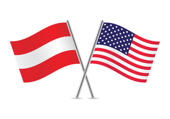 American and Austrian flags. Vector illustration.