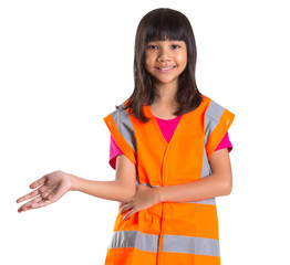 Young Asian preteen girl with an orange safety reflective vest
