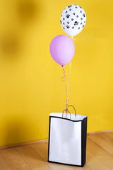Paper Bag With Present and Baloons