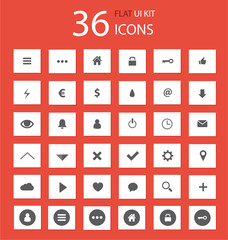 Flat ui kit set icons for webdesign