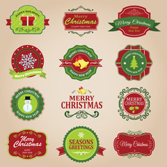 Christmas Collection of badge labels and frames design. Vector I